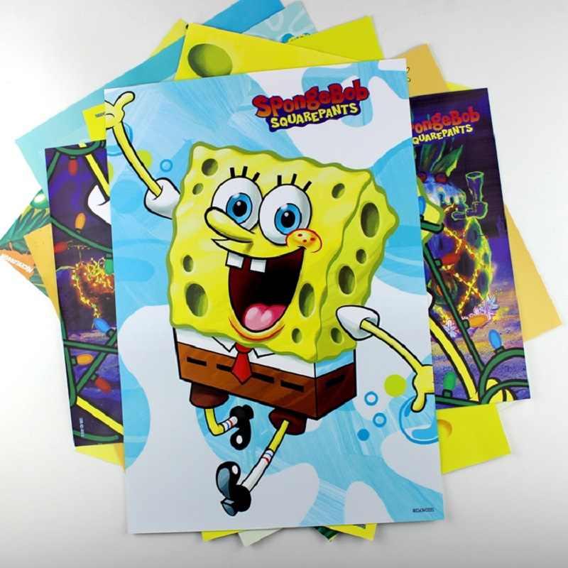 8 шт./лот домашний декор аниме, Губка Боб мультфильм стол плакат стикеры подарок для детей