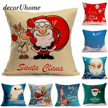 DecorUhome Linen Pillow Case Cartoon Christmas Santa Claus Snowflake Cushion Cover Decorative Throw Sofa