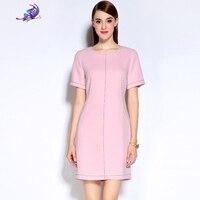 2017 Newes Women S Spring Summer Brand Sunway Designer Fashion Pink Short Sleeve Cute O Neck