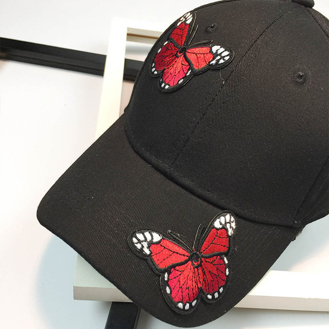 fe486e2d3e5 Women Men Couple Butterfly Baseball Cap Unisex Snapback Hip Hop Flat Hat  Applique Butterfly Duck Hat Baseball Hat tennis cap