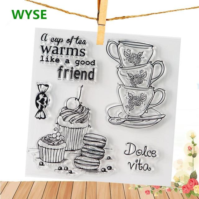 THEE clear Postzegels Mail Meisje Brief Siliconen Transparant Rubber Stempel achtergrond koffie cups stempel DIY Scrapbooking kaarten maken