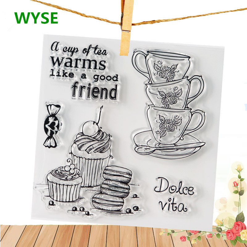 WYSE Tea Coffee Cup Butterfly Girl Sellos claros Palabra Sello de sello de silicona transparente para DIY Scrapbooking card Craft Supplies