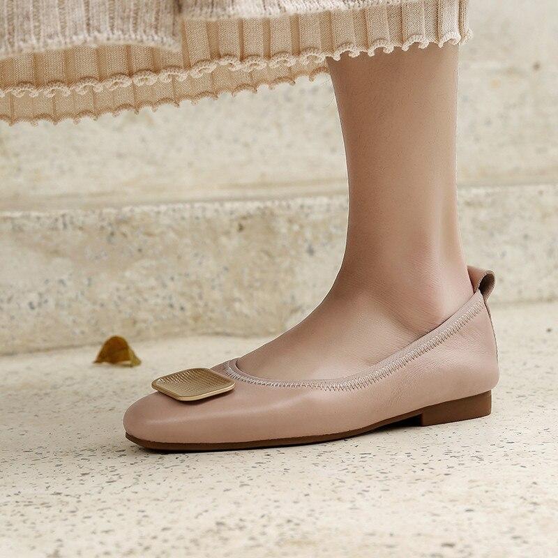 Decorazione Superficiale Metallo Quadrato Balletto Mujer cachi In Delle Msstor Tacco Modo Punta Nero Zapatos Rotonda Scarpe Donne Da Il Basso Di Donna Pompe nwPF7pw