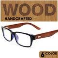 2016 gafas de madera de Madera de la vendimia enmarcan Llanura gafas de lentes claros Marcos de las lentes