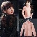 A primavera eo Outono meninos roupas de Gola Alta T-shirt Das Meninas Do Bebê Crianças Roupas Camisa de Manga Comprida T assentamento Camisa Básica 5-12 T