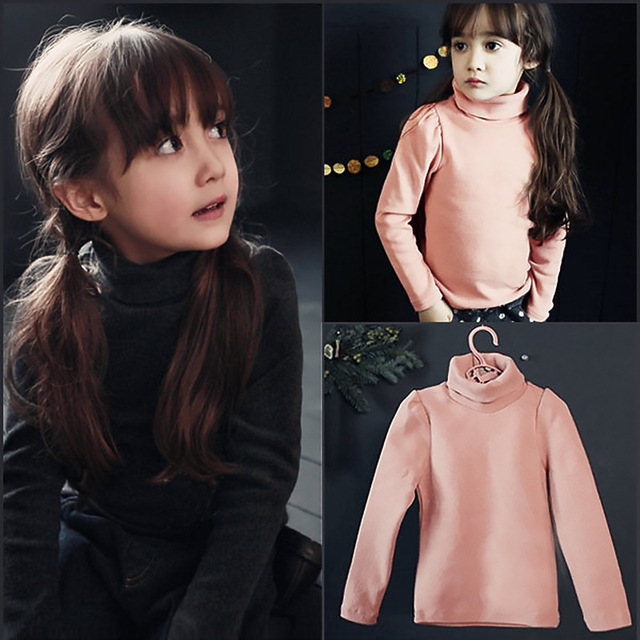 Spring and Autumn Turtleneck Girls T-shirt Baby boys clothes Children Clothing Long Sleeve T Shirt Basic bottoming Shirt 5-12T