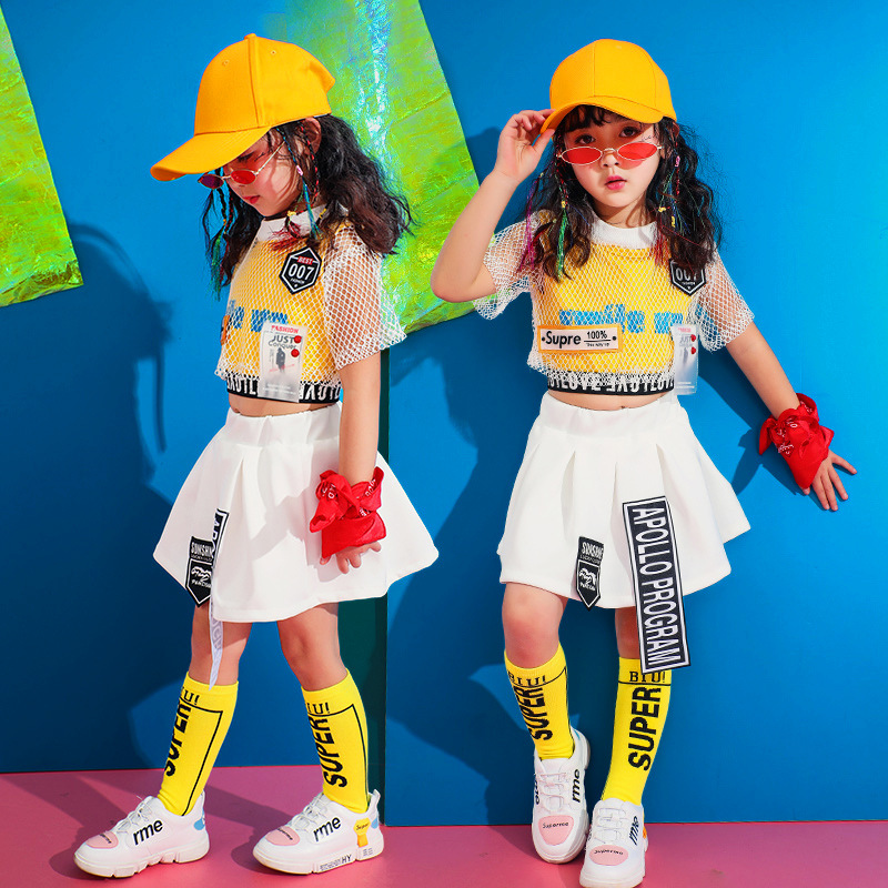Children's Costume Show Kids Ballroom Jazz Dancing Costumes For Girls Boys T Shirt Crop Tops Jogger Pants Hip Hop Dance Clothes