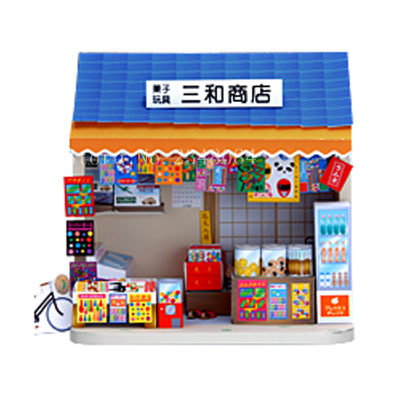 US $14 25 |Japanese 3D Paper Model Buildings Shop House Paper Craft Cube  DIY Manual Puzzle Handmade Papercraft Toys for Children-in Model Building