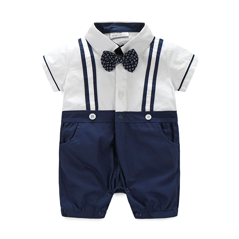 Summer New Baby Rompers Baby Boy Gentleman Short-sleeve Romper with Bow Tie Infant Wedding Party Jumpsuit Baby Boy Clothes summer style short sleeve baby gentleman tie rompers love mama papa jumpsuit baby boys girls costume jeans newborn baby clothes
