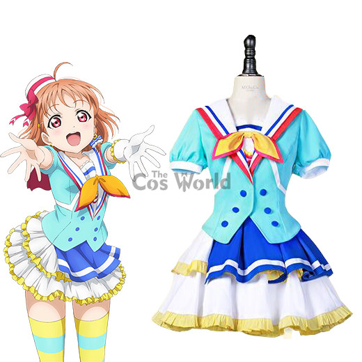 LoveLive!Sunshine!! Jumping Heart Takami Chika Sailor Suit Uniform Dress Outfit Anime Cosplay Costumes