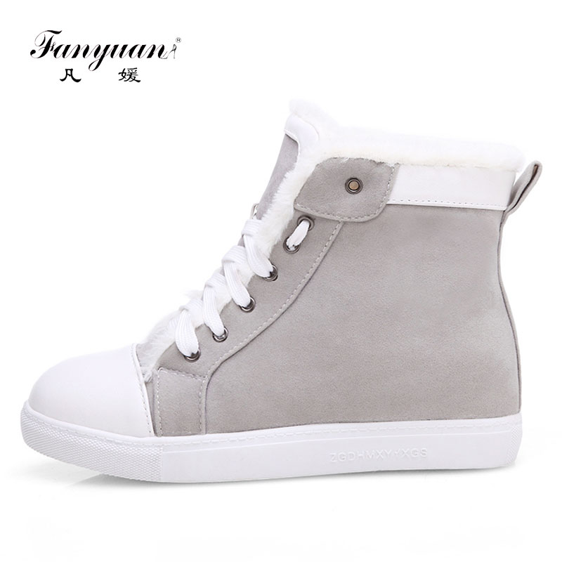 Fanyuan Women Boots Australia Boots Women Winter Flat Ankle Snow Boots 2017 Female Lace Up Flock Fur Short Shoes Big Size 42 wdzkn winter snow boots female short tube warm boots lace up round toe flat heel ankle boots for women winter shoes plus size 42
