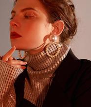 Geometric Round Drop Earrings For Women Imitation Pearl Circle Pendant Big Dangle Earring Jewelry geometric overstate big circle drop earrings