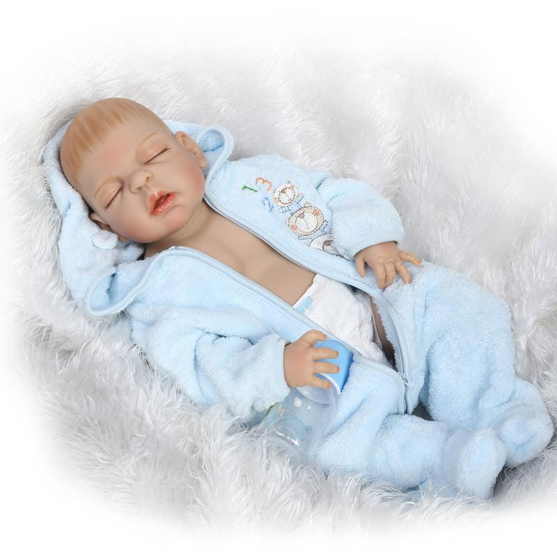55cm Full Body Silicone Reborn Baby Boy Doll Eyes Closed Lifelike 22 Newborn Sleeping Babies Fashion Birthday Gift Bathe Toy