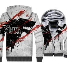 2019 Funny Game Of Thrones Winter Is Coming House Stark Wolf Blood Jacket Thick Unisex Coat 3D Print Hoodies Zipper Hoody