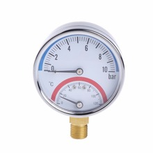 10 Bar Temperature Pressure Gauge Meter G1/4 Thread 2 in1 Thermometer Monitor Tester Tools