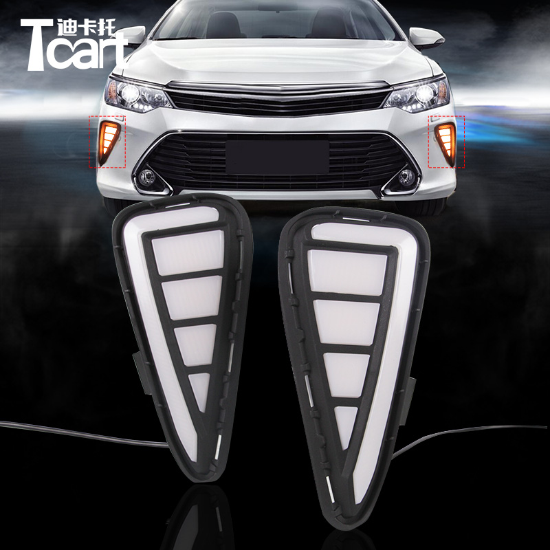 Tcart white/yellow DRL day time running light turn signal light For toyota camry 2009-2011 year car led daytime running light tcart for toyota rav4 2016 2017 drl daytime running light with turn signal light function headlight fog lights led car day light