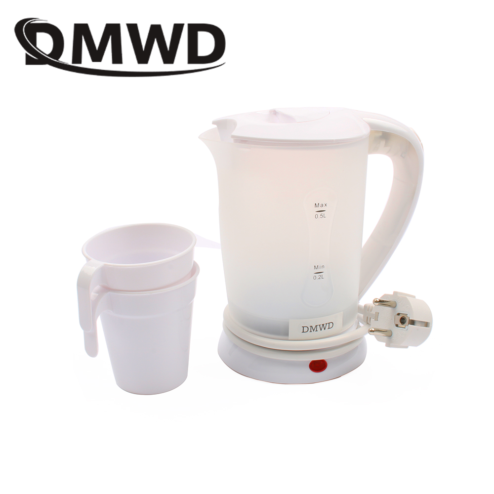 DMWD Dual Voltage Traveling Electric Heating Kettles Water heater Boiler Mini Cup Portable Hot water kettle 0.5L 110V 220V EU US цена и фото
