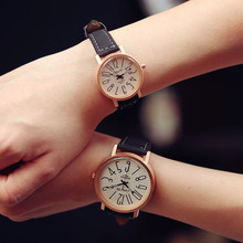 Hot Sale LangDi Brand Rose Gold Big Number PU Leather Dress Watch Wristwatch for Women Men Black 1pc Wholesale Drop Shipping