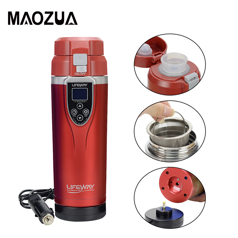 350Ml Portable Car Heating Cup 12V 24V Adjustable Temperature Coffee Water Heater Tea Boiling Mug Travel Electric Thermos Kettle