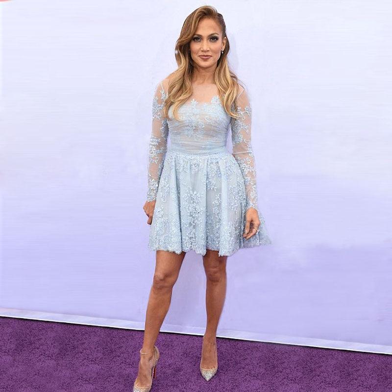 Pretty Jennifer Lopez Short Lace Prom Dresses with Long Sleeve Light ...
