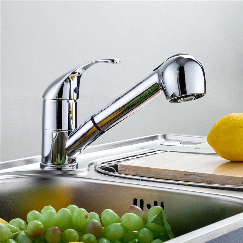 Commercial Single Handle Pull Out Sprayer Kitchen Sink Faucet, Pull Down Chrome plated Kitchen Faucets kitchen chrome plated brass faucet single handle pull out pull down sink mixer hot and cold tap modern design