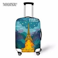 TWOHEARTSGIRL 액세서리 여행 도로 수하물 커버 에펠 탑 인쇄 보호