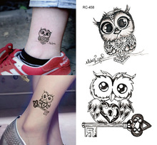 Tattoo Stickers Lovely Owl 10.5x6cm Waterproof Black Men Women Body Stickers