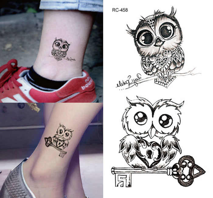 tattoo stickers lovely owl 10.5*6cm waterproof black new men women  body stickers