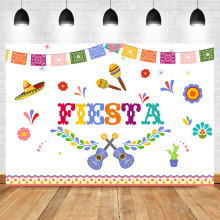 цена Mexico Fiesta Birthday Backdrop Fiesta Birthday Party Banner  Photography Background Vinyl Custom Photography Backdrops