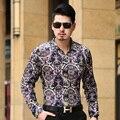 Homens outono Camisa de Manga Comprida masculina Camisa De Veludo Marca Formal de Homens Vestido de Business Casual Camisas Para Homem Magro Masculina Camisa