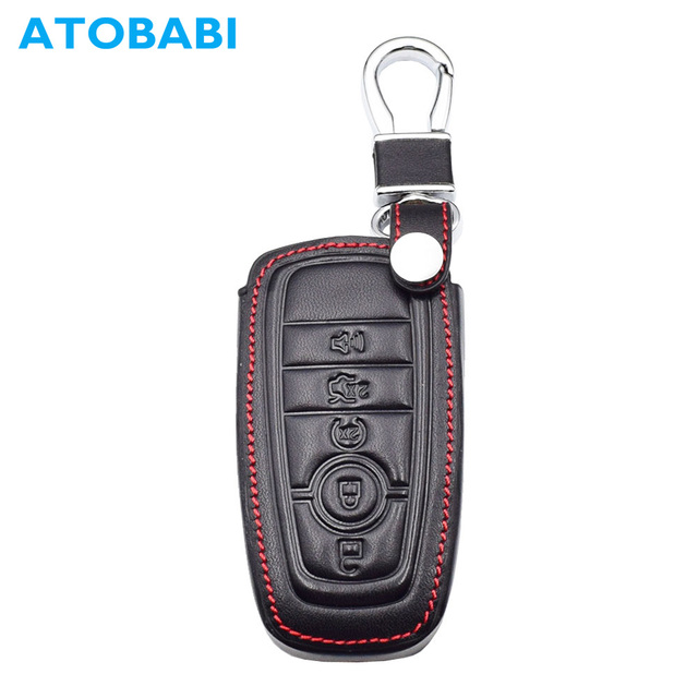 5 Buttons Genuine Leather Car Key Case Cover Keychain For Ford