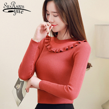 Sweater long-sleeved women 2020 spring cultivate one's unlined upper garment O-neck tight falbala knitwear women sweater 1829 50