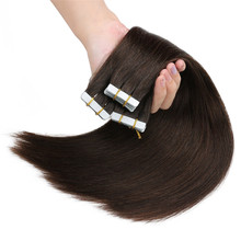 Human-Hair-Extensions Adhesive Tape-In Ali Beauty Straight PU Brazilian Weft-Platinum