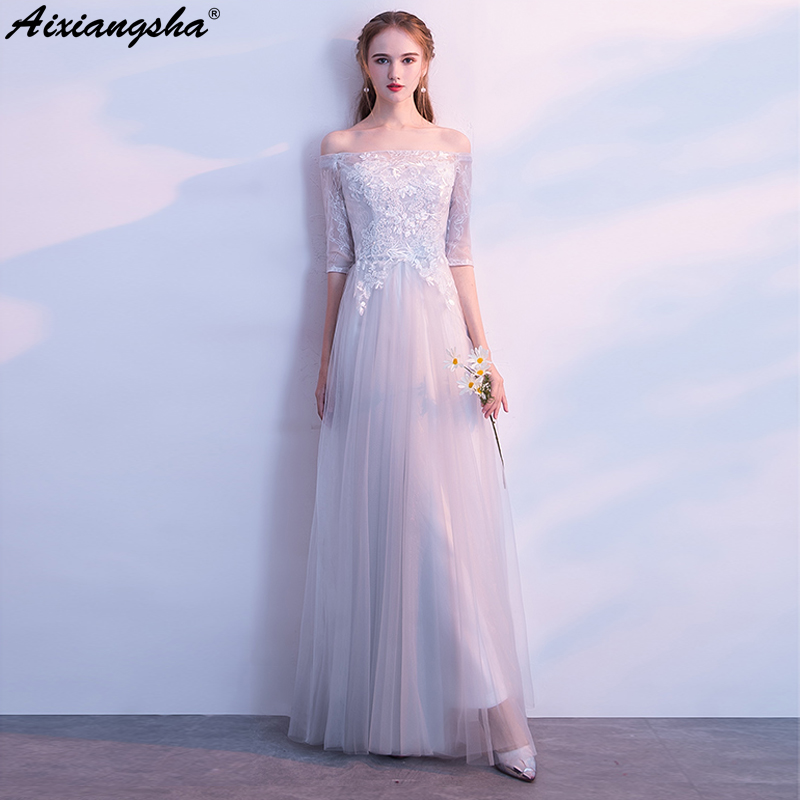 2018 Fairy Style Tulle New Arrival A Line Floor Length Boat Neck