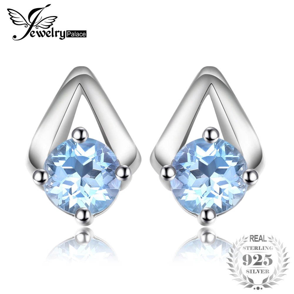 JewelryPalace 1.2ct Round Natural Sky Blue Topaz Stud Earrings 100% Real 925 Sterling Silver Trendy Fine Jewelry For WomenJewelryPalace 1.2ct Round Natural Sky Blue Topaz Stud Earrings 100% Real 925 Sterling Silver Trendy Fine Jewelry For Women