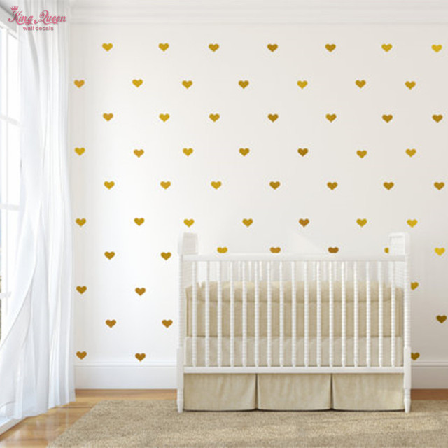 Golden heart shape wall decal vinyl sticker kids bedroom wall art decor baby