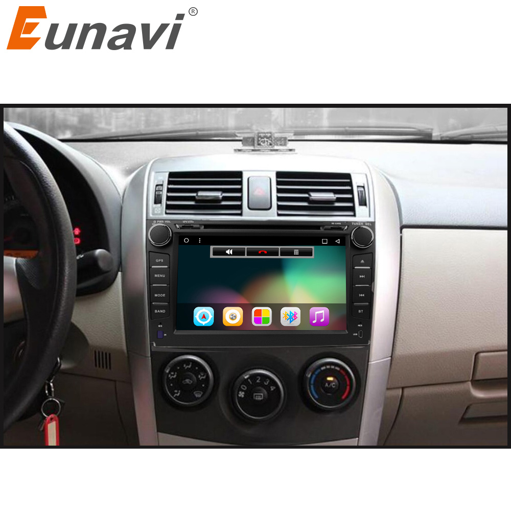 Eunavi 2 din Android 6.0 car dvd player gps for Toyota Corolla 2007 2008 2009 2010 2011 8 inch 1024*600 screen car stereo radio автомобильный dvd плеер isudar 2 din 7 dvd ford mondeo s max focus 2 2008 2011 3g gps bt tv 1080p ipod