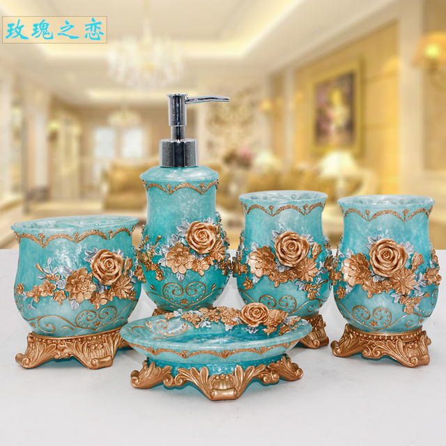 Rose Flower 5pcs Resin Bathroom Accessories Set Soap Dispenser