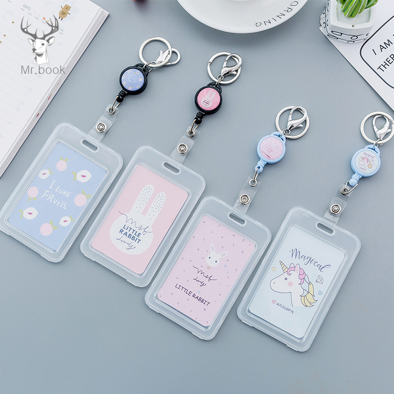 Cute Cartoon Retractable Badge Card Holder Nurse Doctor Exhibition Pull Key ID Name Card Badge Holder School Office Supplies