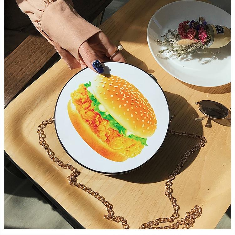 Bolsa Redonda Estampa Fruta e Hambúrguer,Bolsa Clutch Hamburguer