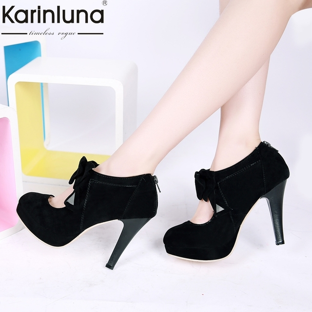 Fashion Pumps Summer 2019 Us16 Spring 40Off Size 30 Bowtie Woman In 48 karinluna Big Heels High Women Party Dropship Wedding 1 Shoes xCodWerB