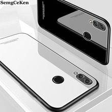 SemgCeKen luxury original hard glass mirror case for huawei honor 10 lite 10lite v10 view silicone back coque phone cover