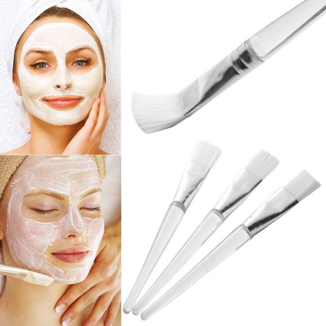 2 Pcs New Professional White Hair Mud Mixing Cosmetic Makeup Tool Beauty Face Facial Mask Brush Skin Care Transparent Handle