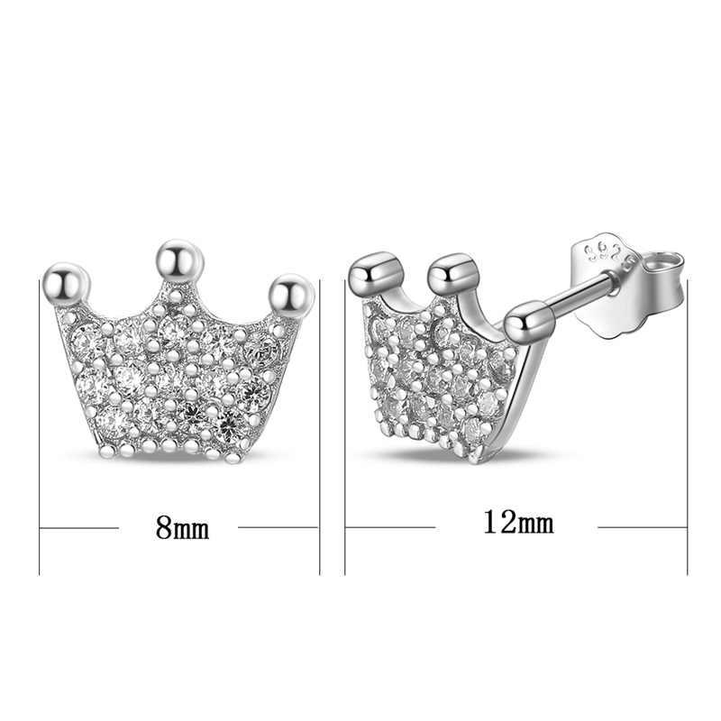 עזיז BEKKAOUI גבוהה באיכות 100% 925 סטרלינג כסף נסיכת כתר ברור CZ Stud עגילים לנשים תכשיטים מתנה