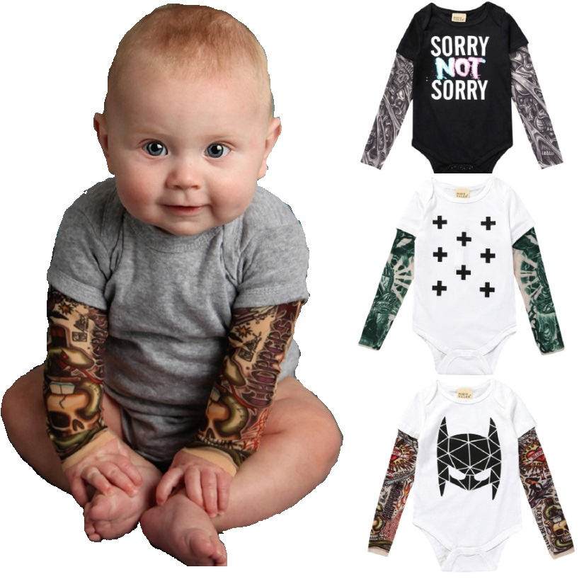 Tattoo Baby Clothes Long Sleeve Bodysuit Unisex Newborn Jumpsuit 100% Cotton Long Sleeve Premature Clothing Boy Shirts Costumes