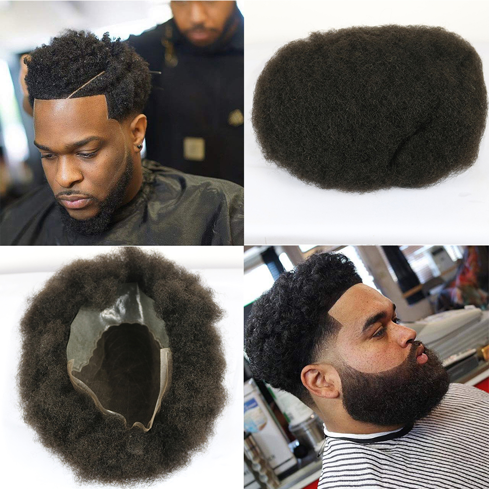 SimBeauty Afro Toupee Hairpiece With 100% Human Hair For Men 10x8 Inch French Lace Base With PU Around Afro Wig Men Color #1B