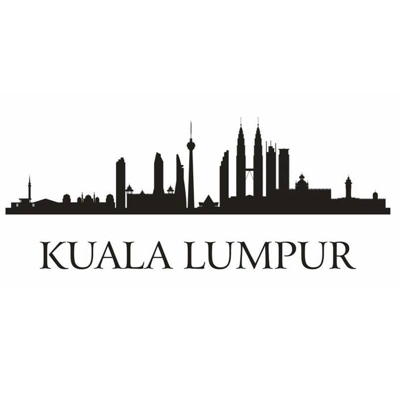 dctal kuala lumpur city decal landmark skyline wall stickers sketch
