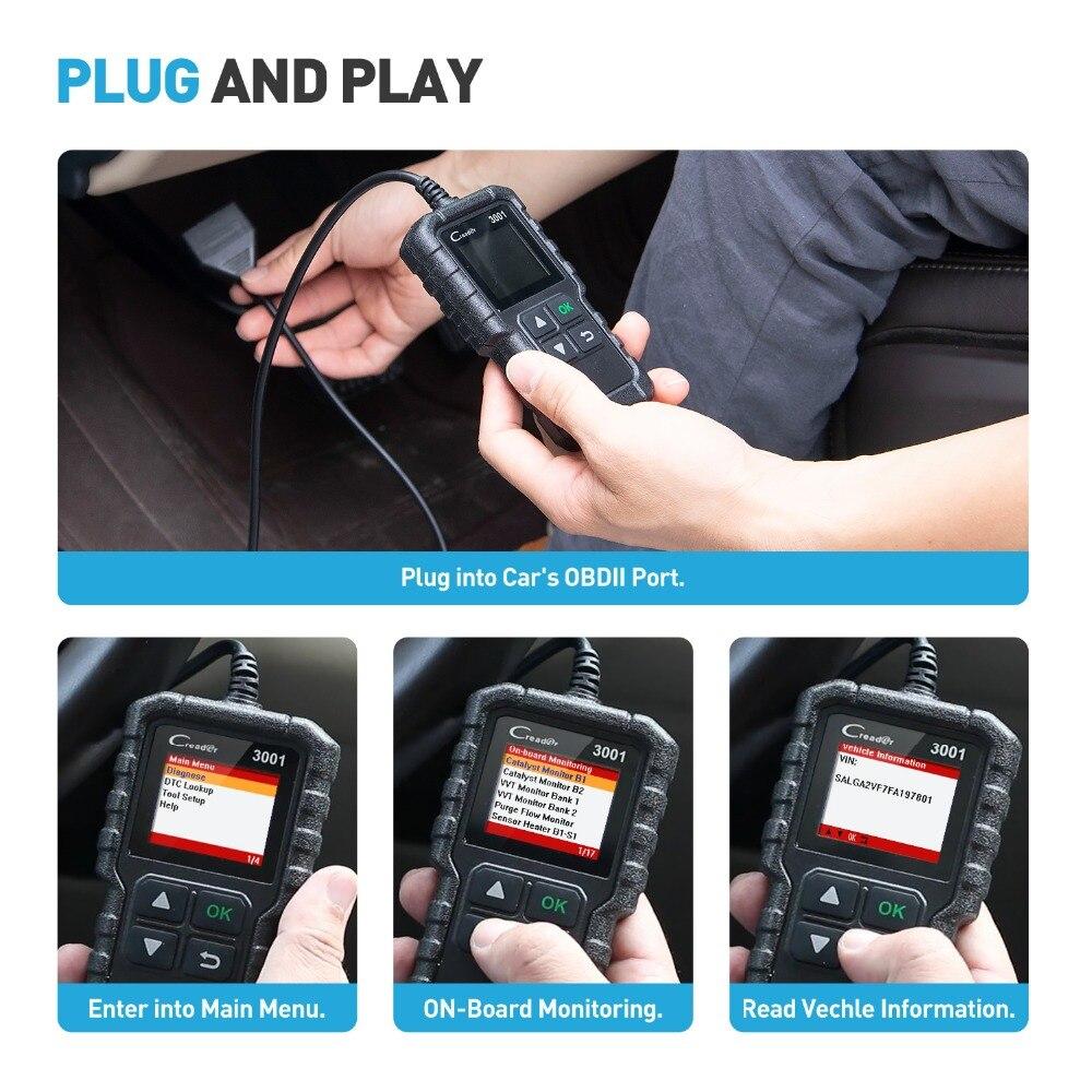 LAUNCH X431 CR3001 полный OBD2 сканер OBD 2 считыватель кодов двигателя Creader 3001 автомобильный диагностический инструмент PK CR319 AD310 ELM327 сканирующий инструмент