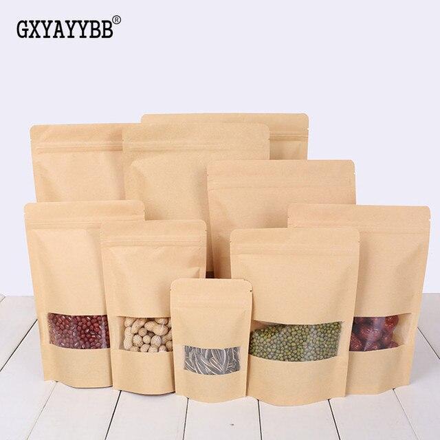 Nova 50 pcs Brown Stand up Zip Lock sacos de papel Kraft com Janela Transparente, reclosable Doypack Zipper sacos de Embalagem selo Aderência