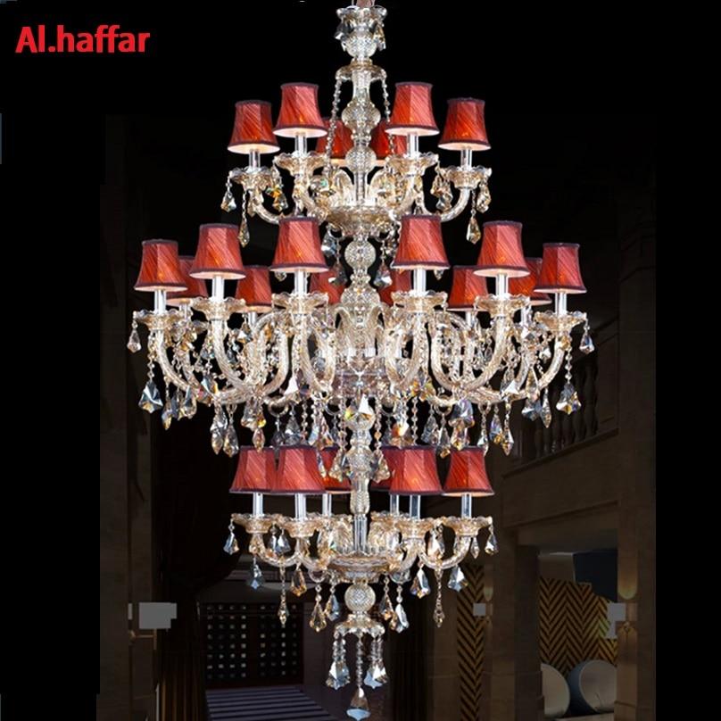 Grand escalier long hôtel de luxe lustre en cristal 24 lumières moderne K9 Hall hôtel lustres de cristal bougie lustre luminaire